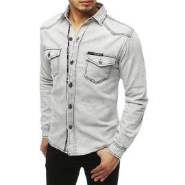 Light gray men's denim shirt DX1846