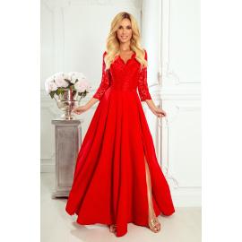 309-3 AMBER elegancka koronkowa długa suknia z dekoltem - CZERWONA