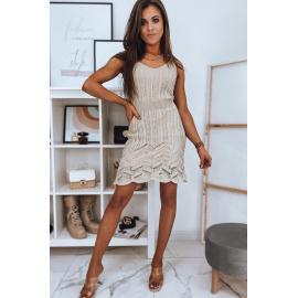 Ażurowa sukienka HELEN beżowa Dstreet EY1614