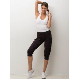 Damskie spodnie capri z troczkami ciemnofioletowe