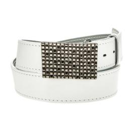 Men's white leather belt HX0001